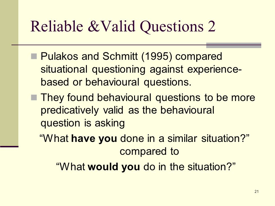 Reliable &Valid Questions 2