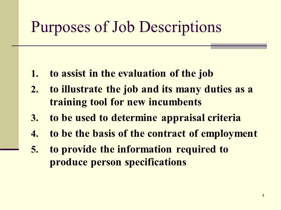Purposes of Job Descriptions