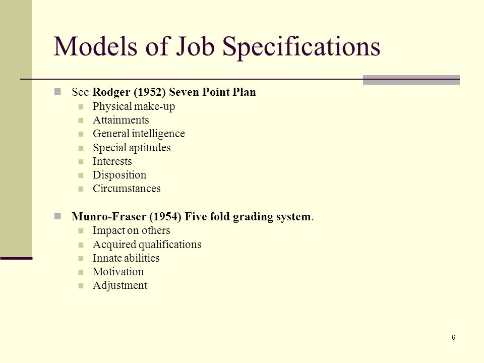 Models of Job Specifications