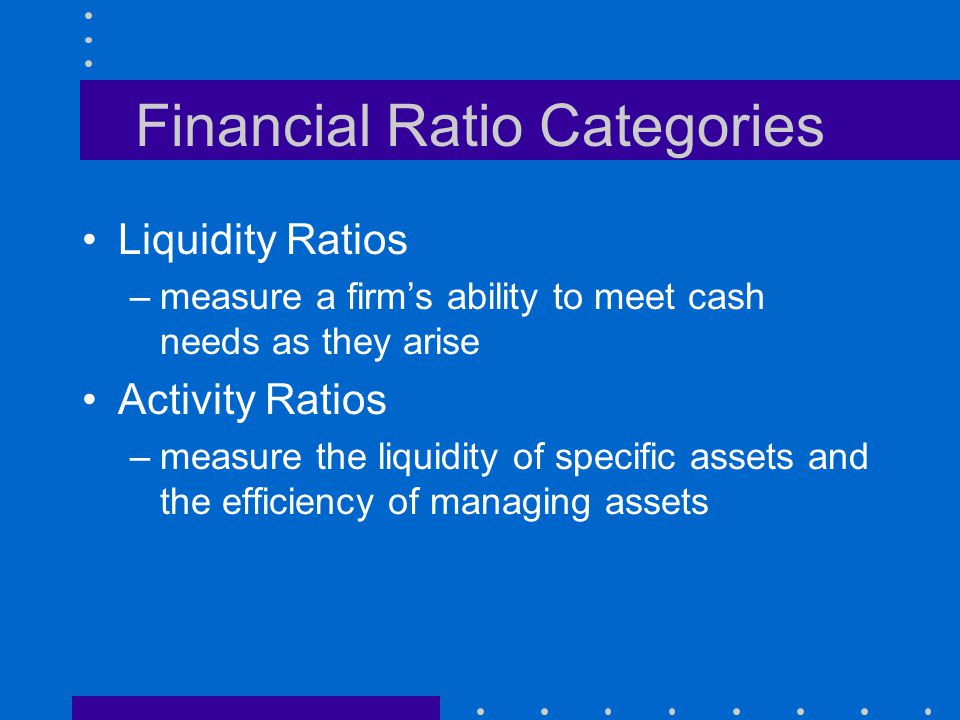 Financial Ratio Categories