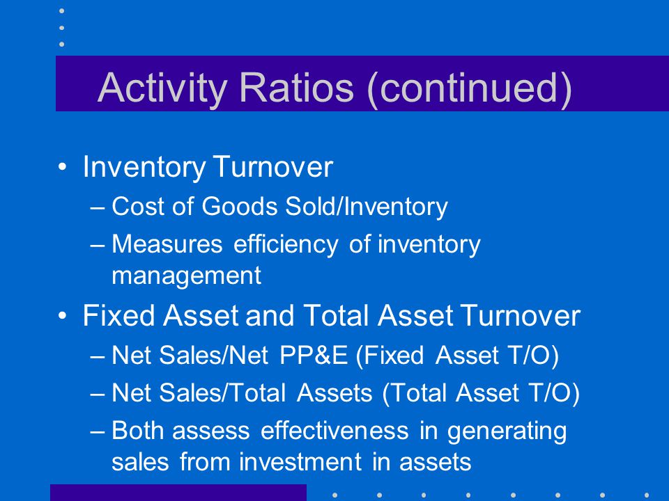 Activity Ratios (continued)