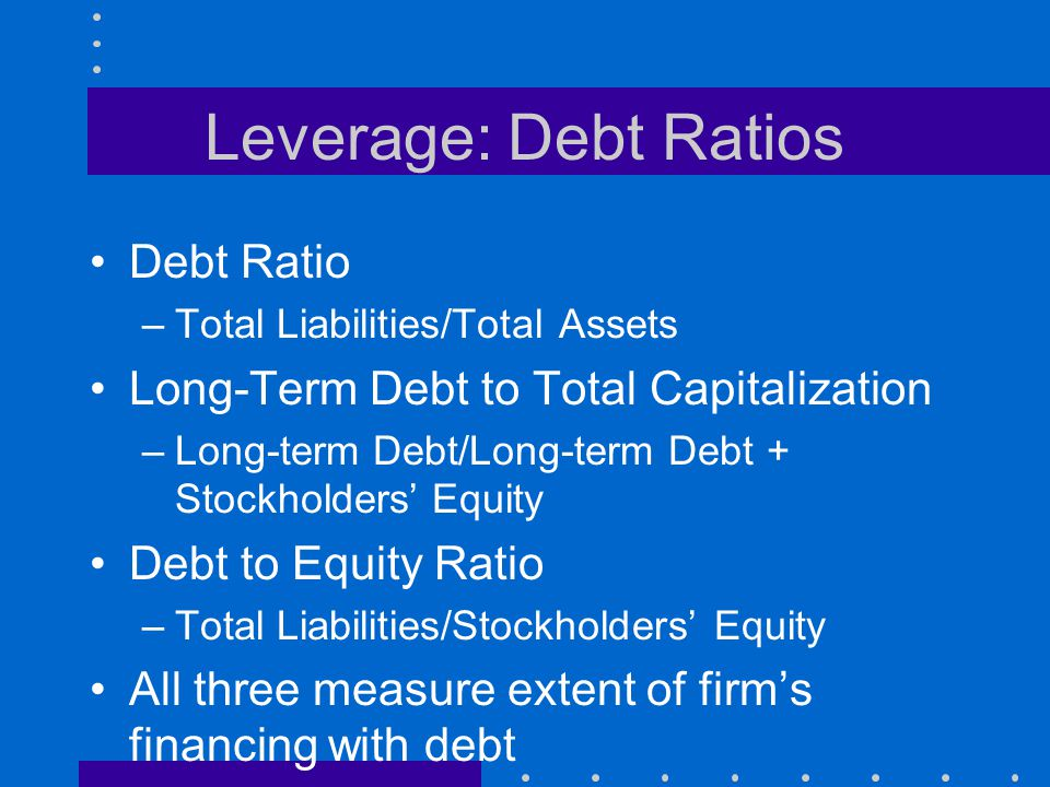 Leverage: Debt Ratios Debt Ratio
