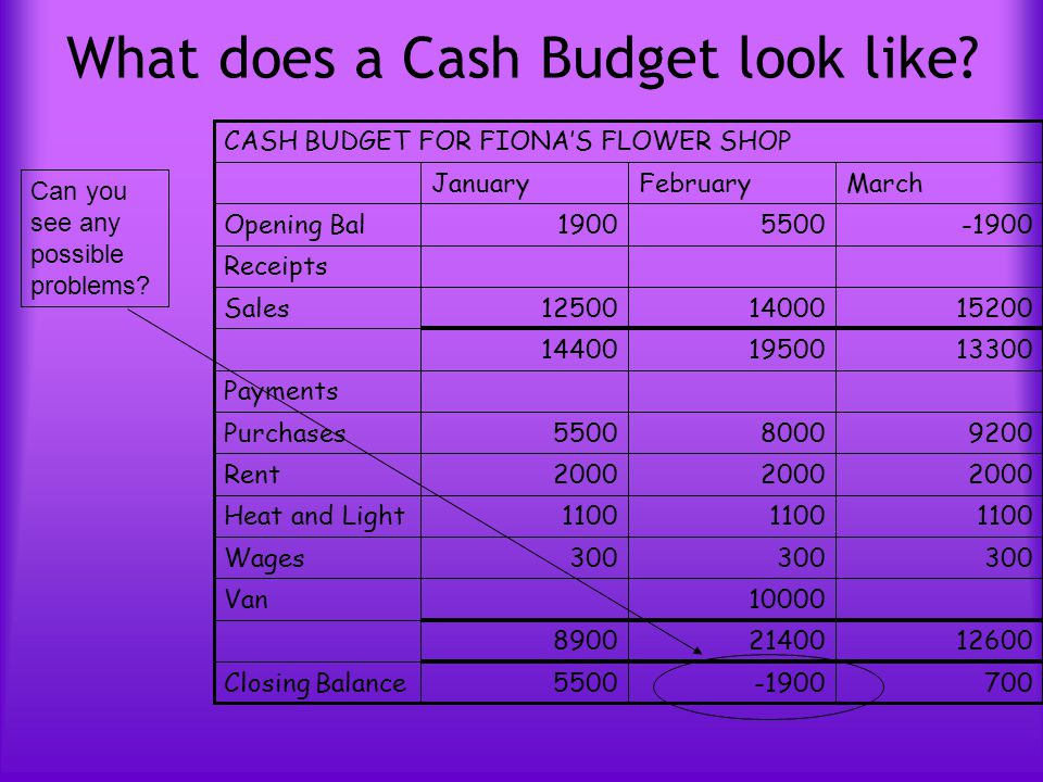 how to make cash payment for purchases budget