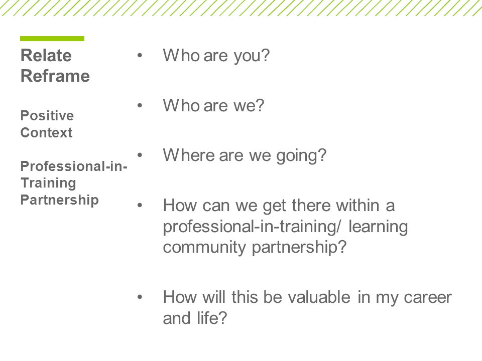 Relate Reframe Positive Context Professional-in-Training Partnership