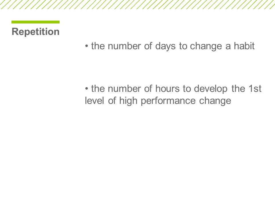Repetition • the number of days to change a habit.
