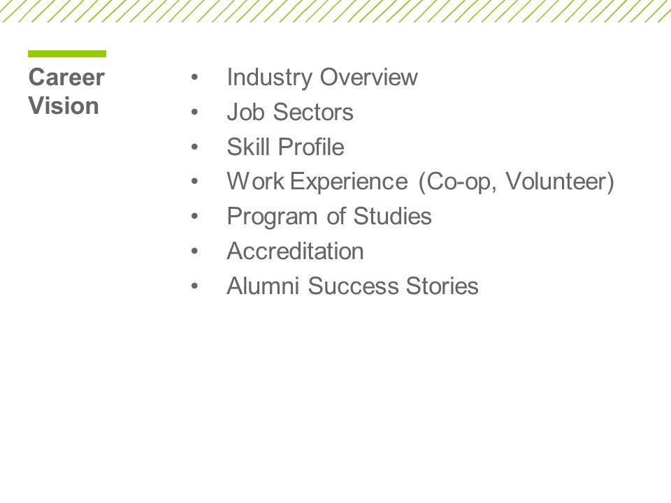 Career Vision Industry Overview. Job Sectors. Skill Profile. Work Experience (Co-op, Volunteer) Program of Studies.