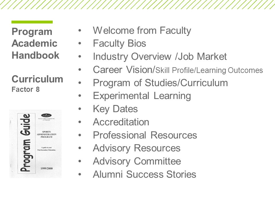 Program Academic Handbook Curriculum Factor 8