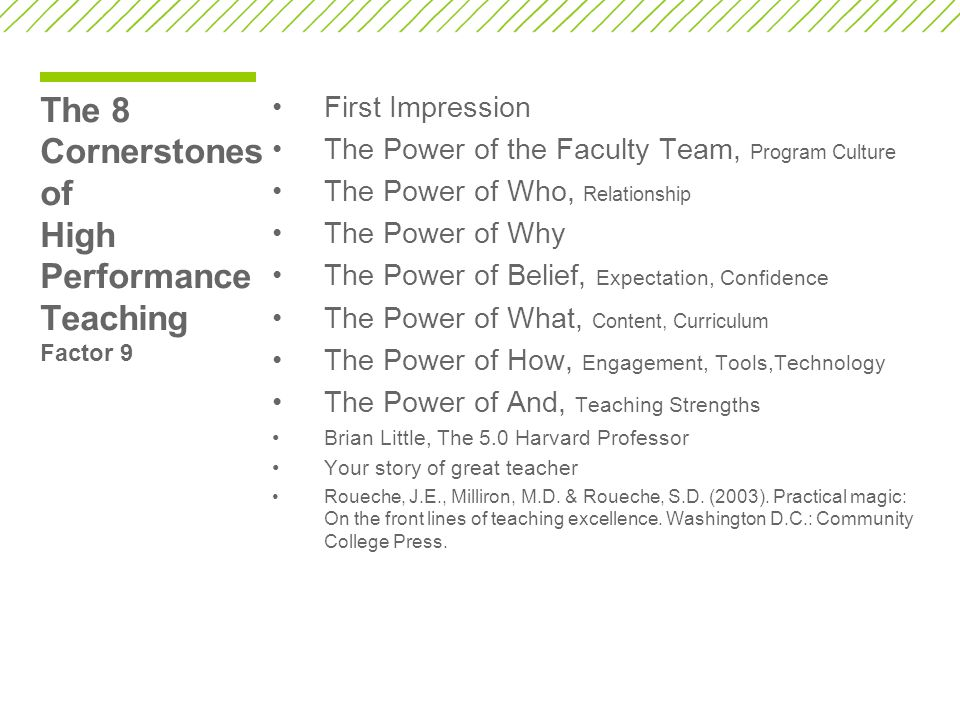 The 8 Cornerstones of High Performance Teaching Factor 9