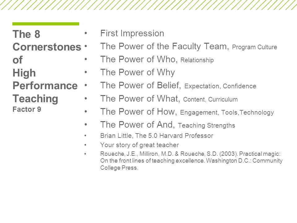 The 8 Cornerstones of High Performance Teaching Factor 9