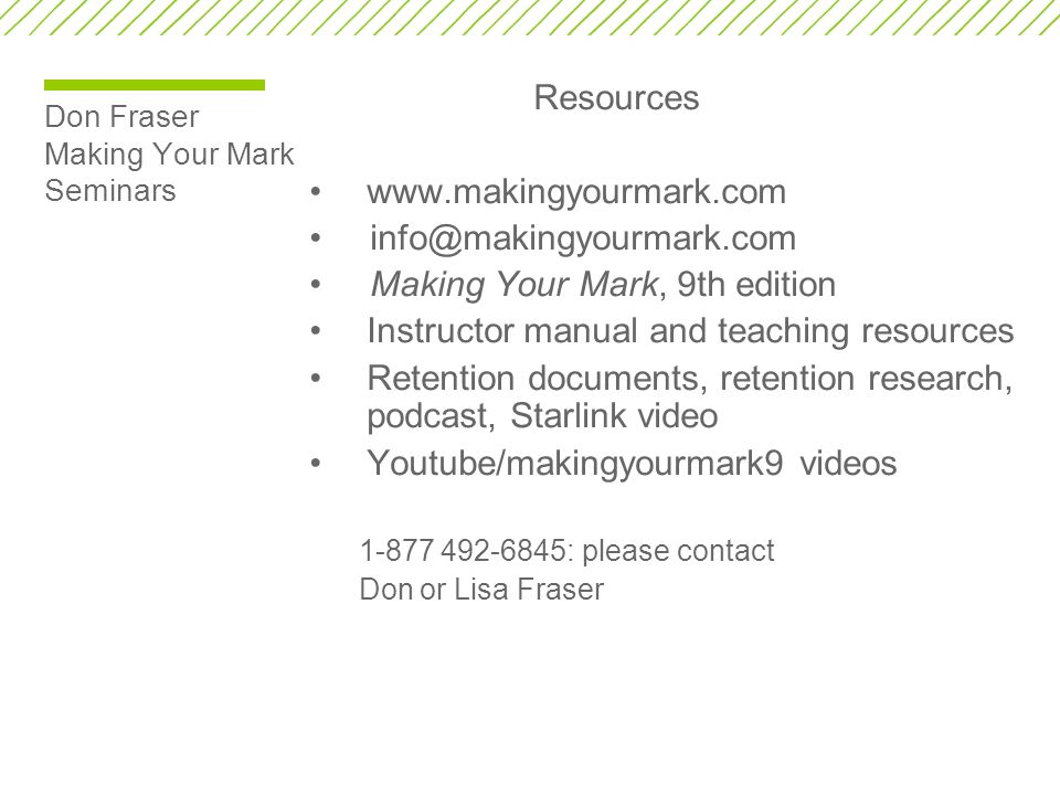 Don Fraser Making Your Mark Seminars