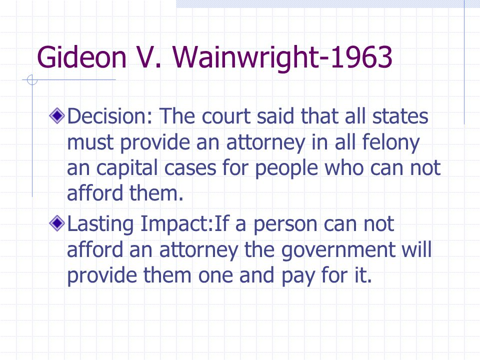 gideon v. wainwright essays Gideon v wainwright in june 1961, clarence gideon was arrested and charged with breaking and entering in bay harbor he was tried in a florida circuit court in august 1961 gideon vs wainwright essay 892 words | 4 pages of them.
