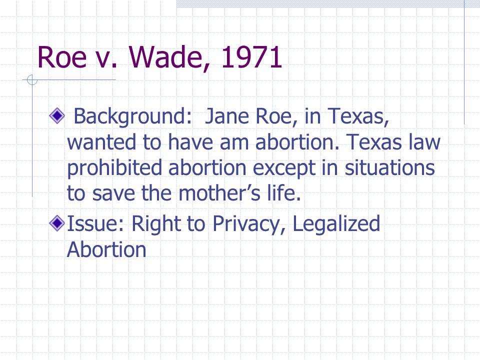 Roe v. Wade, 1971