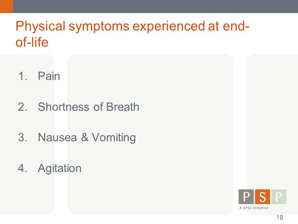 Physical symptoms experienced at end-of-life