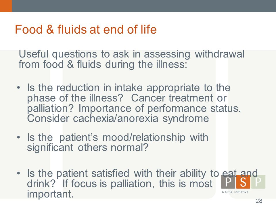 Food & fluids at end of life