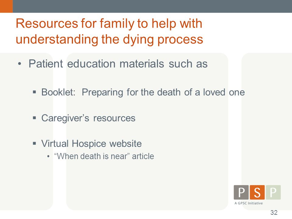 Resources for family to help with understanding the dying process