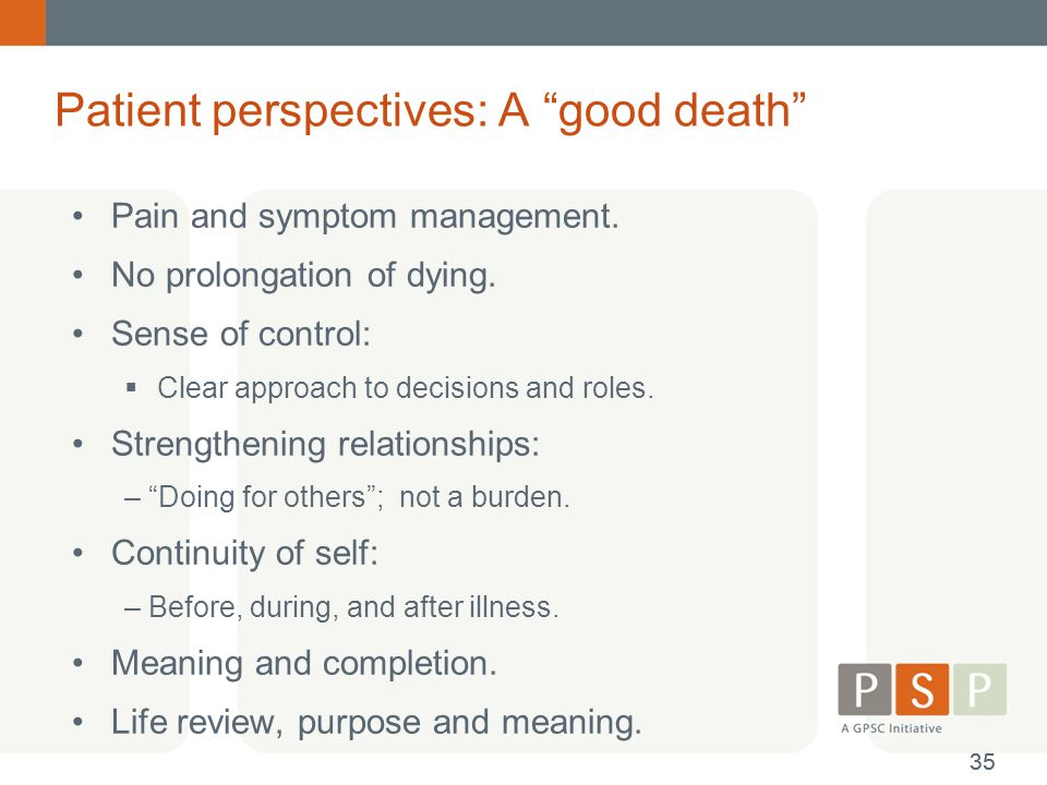Patient perspectives: A good death