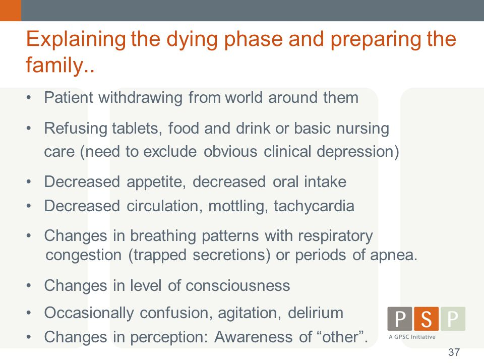 Explaining the dying phase and preparing the family..