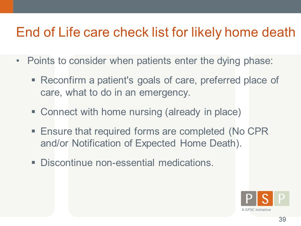 End of Life care check list for likely home death