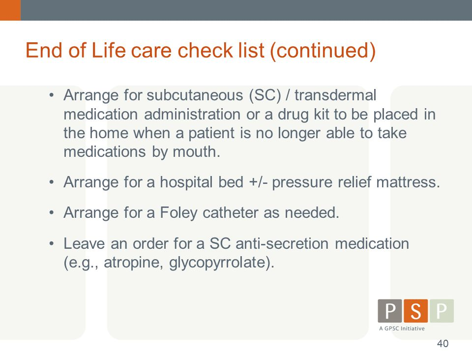 End of Life care check list (continued)