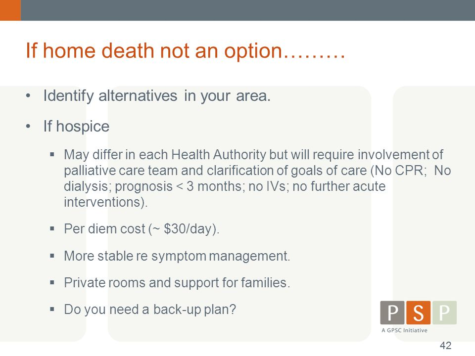 If home death not an option………