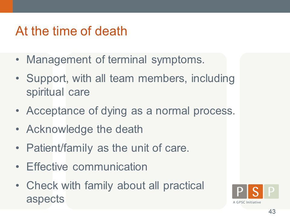 At the time of death Management of terminal symptoms.