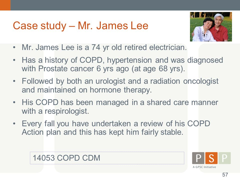clinical case study on copd Case study emphysema copd final  group case study: emphysema dz, a 65-year-old man, is admitted to a medical floor for exacerbation of his chronic obstructive pulmonary disease (copd emphysemahe has a past medical history of hypertension, which has been well controlled by enalapril (vasotec) for the past 6 years.