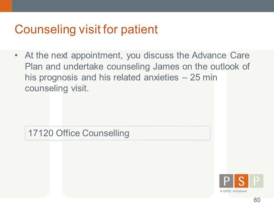 Counseling visit for patient