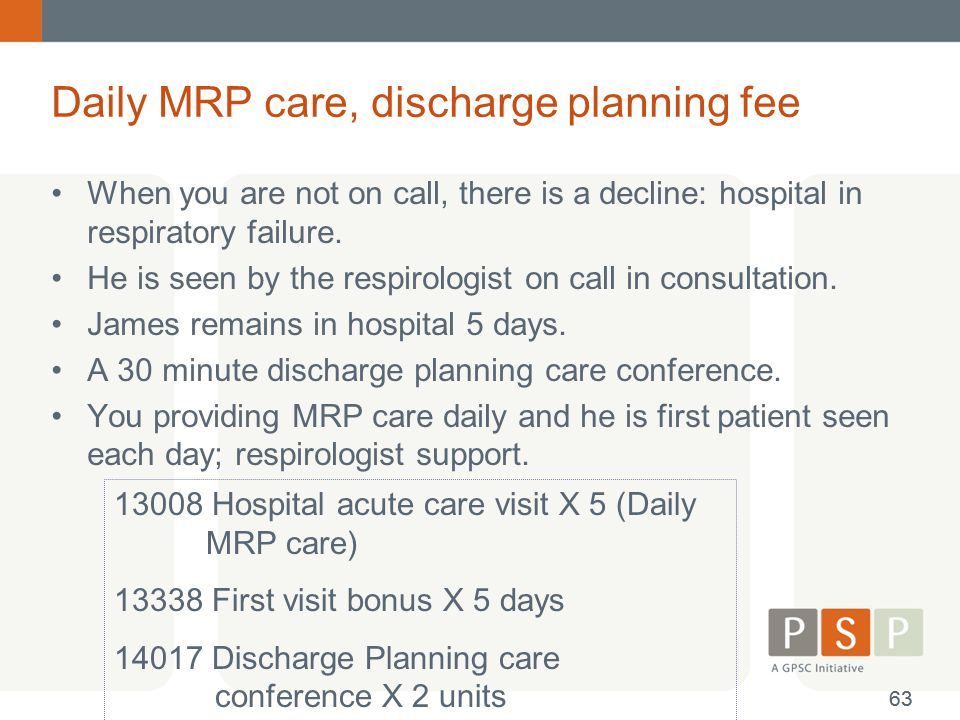Daily MRP care, discharge planning fee