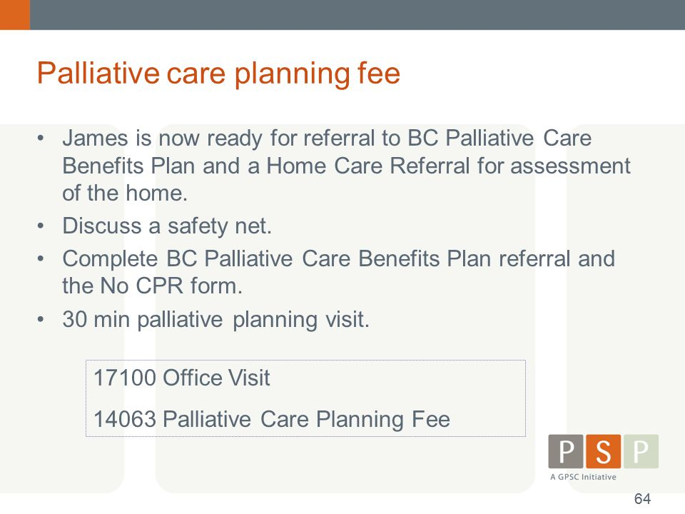 Palliative care planning fee