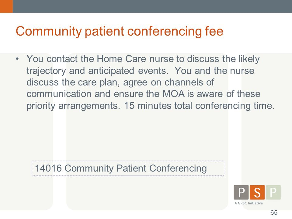 Community patient conferencing fee