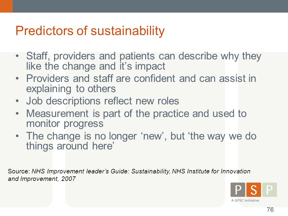 Predictors of sustainability