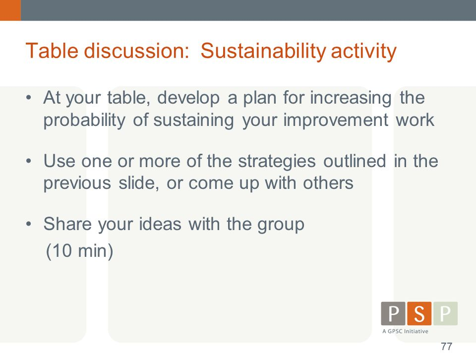 Table discussion: Sustainability activity