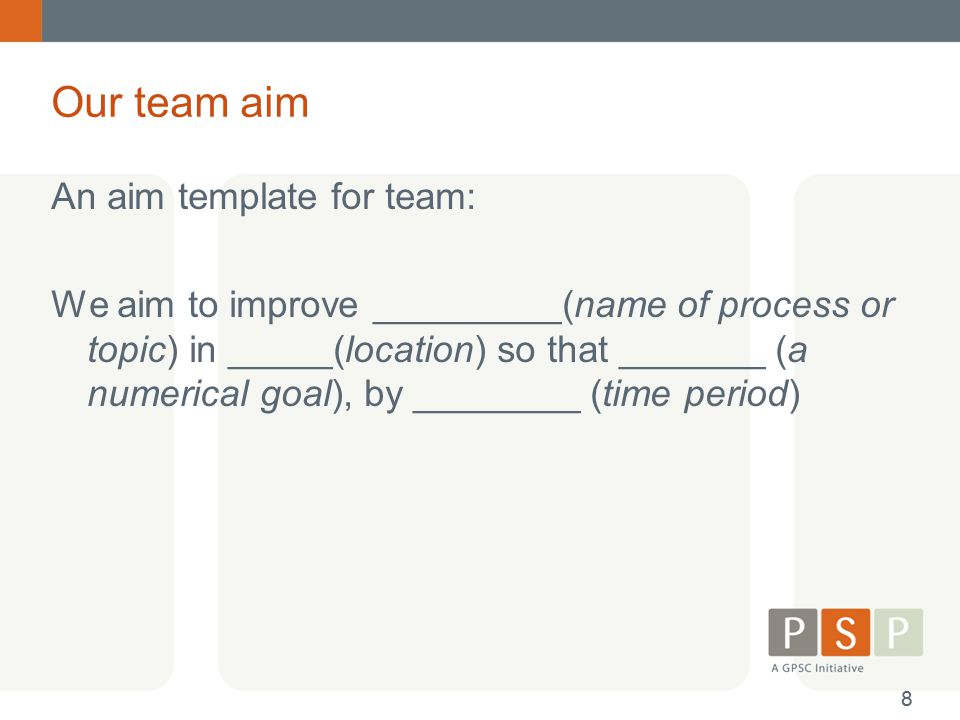 Our team aim An aim template for team: