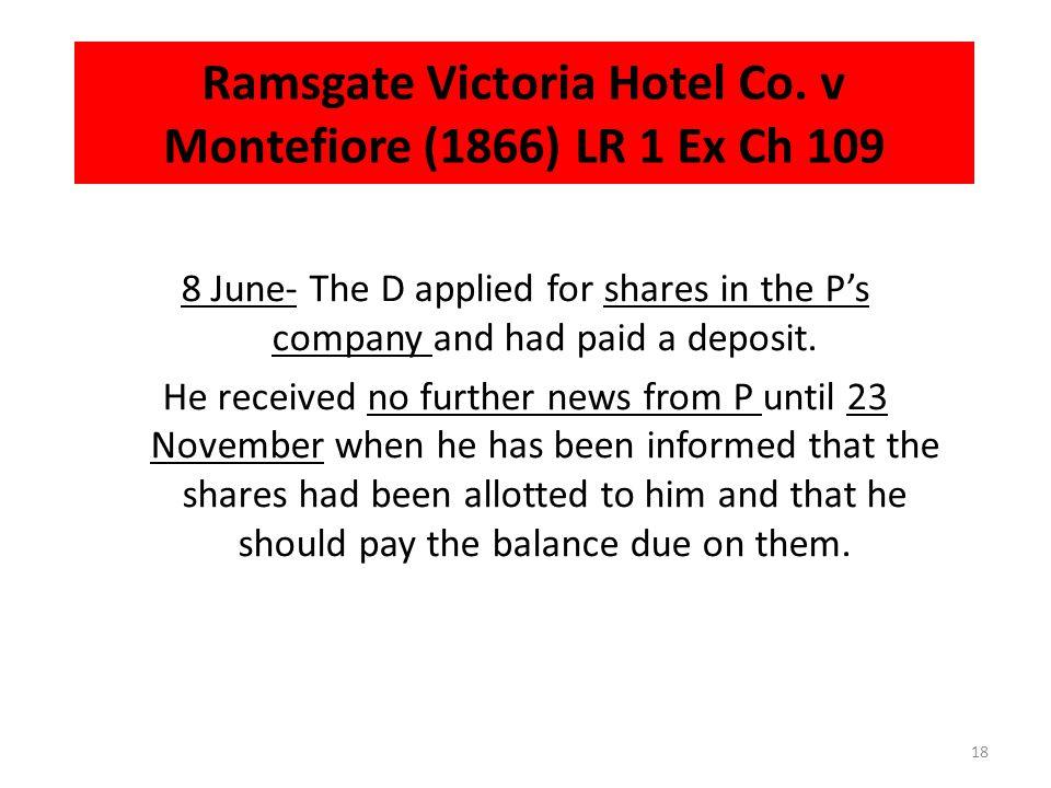 Ramsgate Victoria Hotel Co. v Montefiore (1866) LR 1 Ex Ch 109