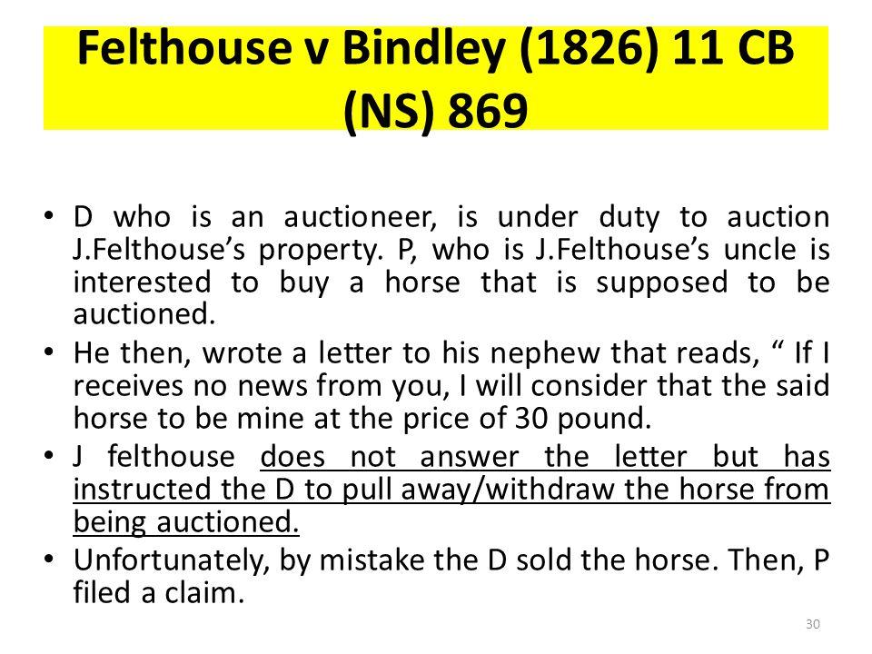 Felthouse v Bindley (1826) 11 CB (NS) 869