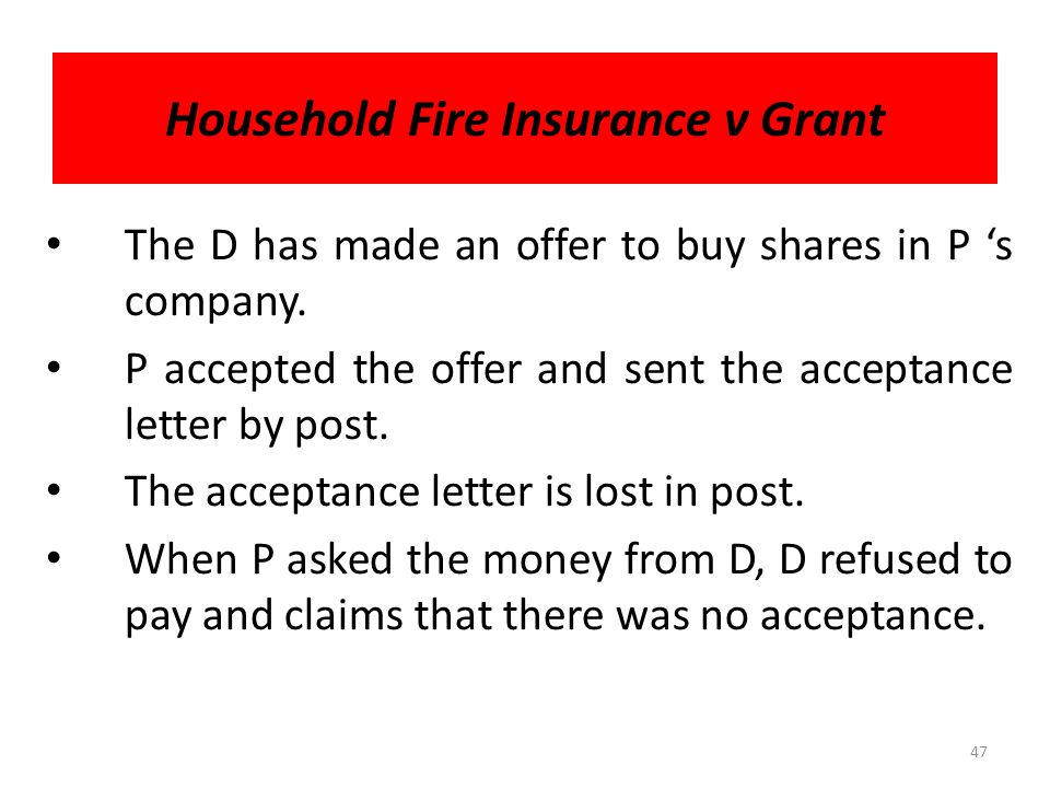Household Fire Insurance v Grant