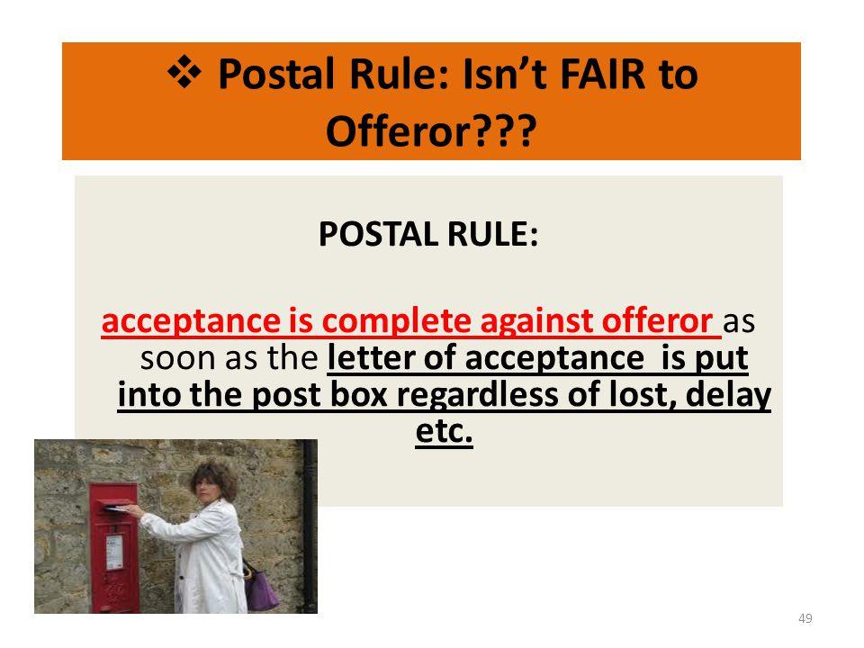 Postal Rule: Isn't FAIR to Offeror