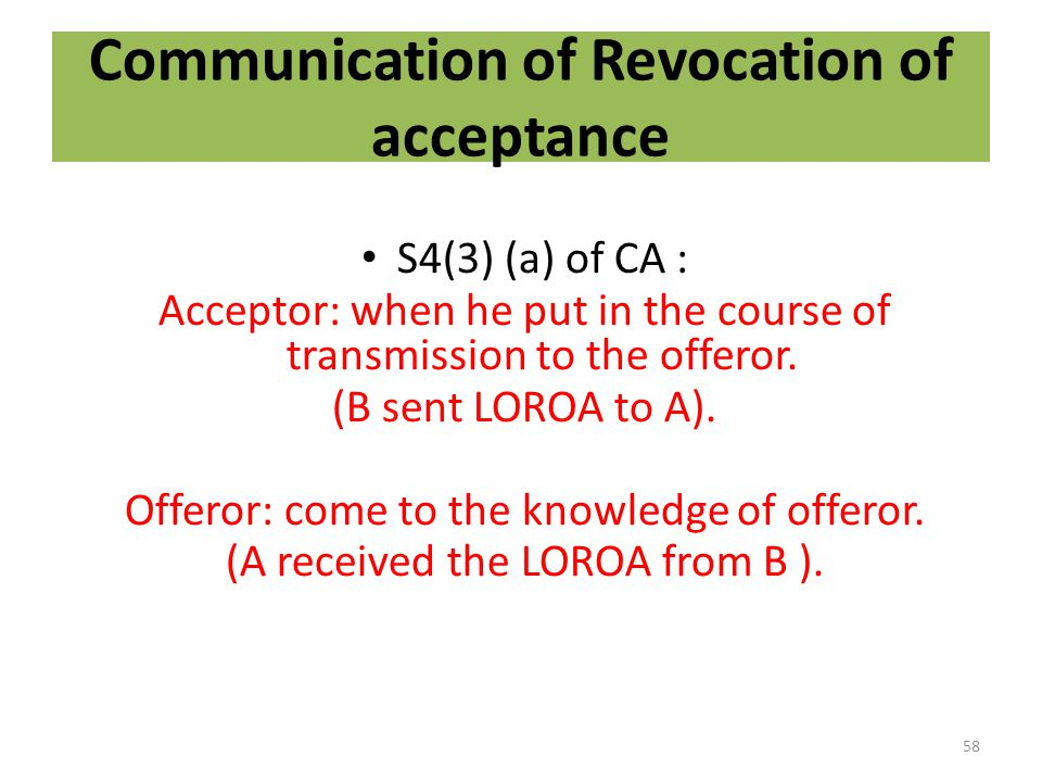Communication of Revocation of acceptance