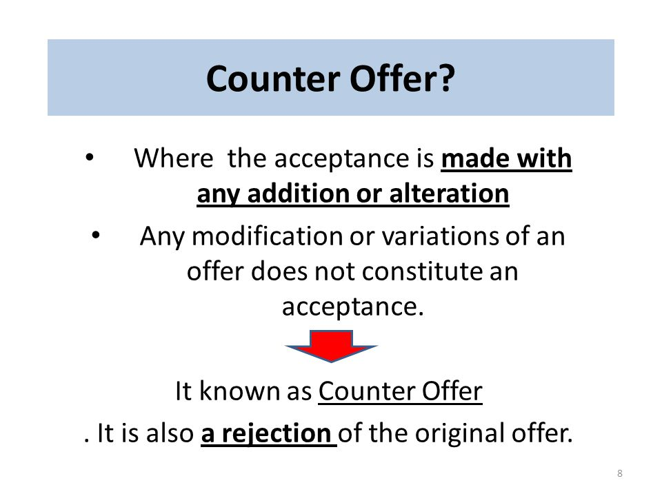 Counter Offer Where the acceptance is made with any addition or alteration.