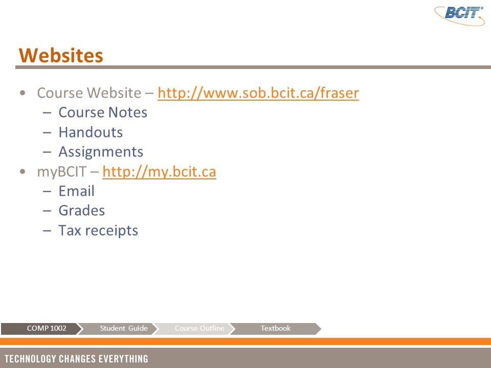 Websites Course Website – http://www.sob.bcit.ca/fraser Course Notes
