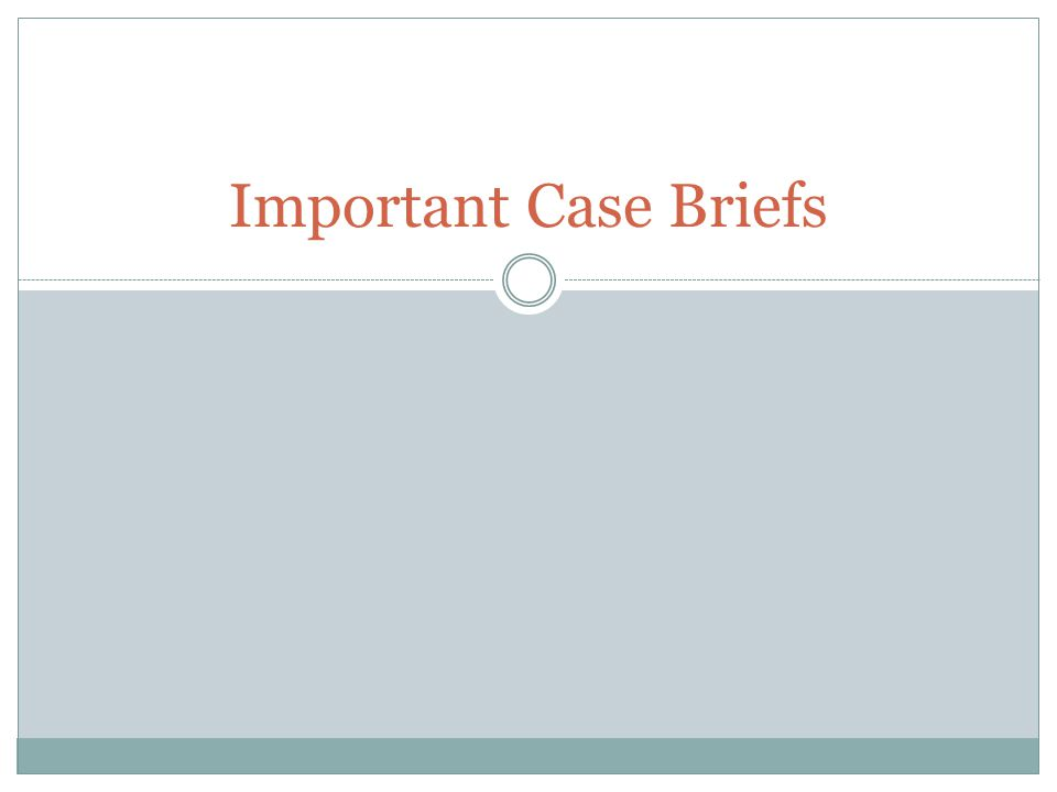 Important Case Briefs
