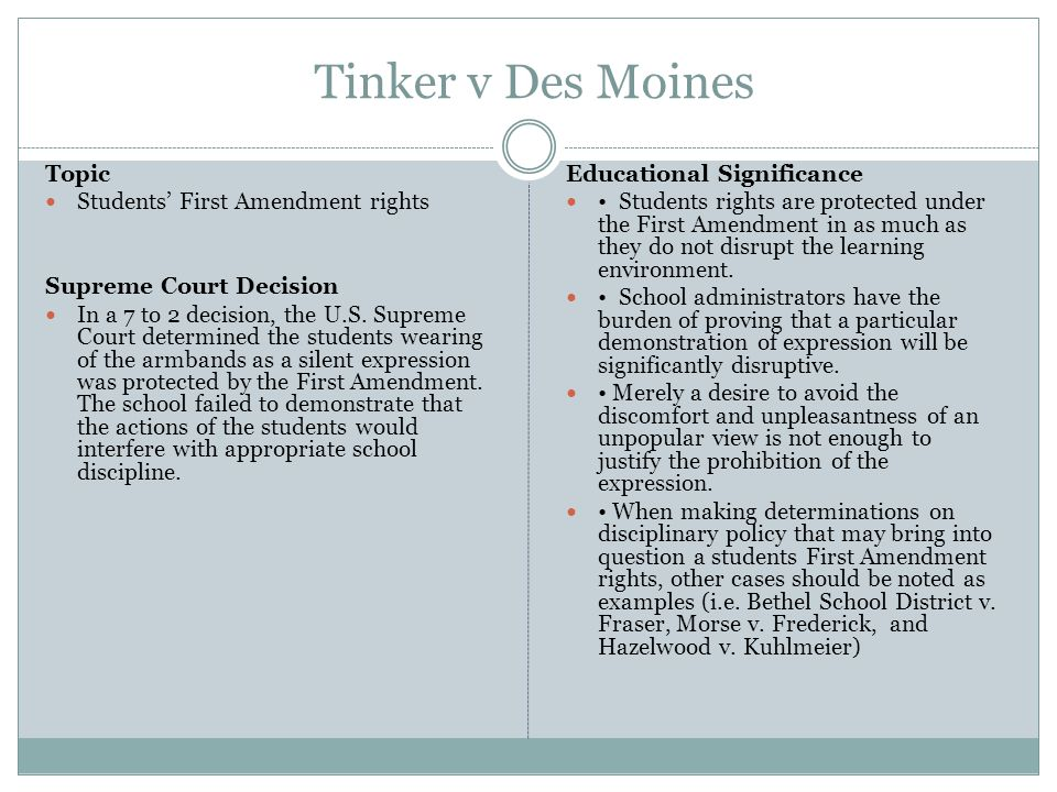 Tinker v Des Moines Topic Students' First Amendment rights