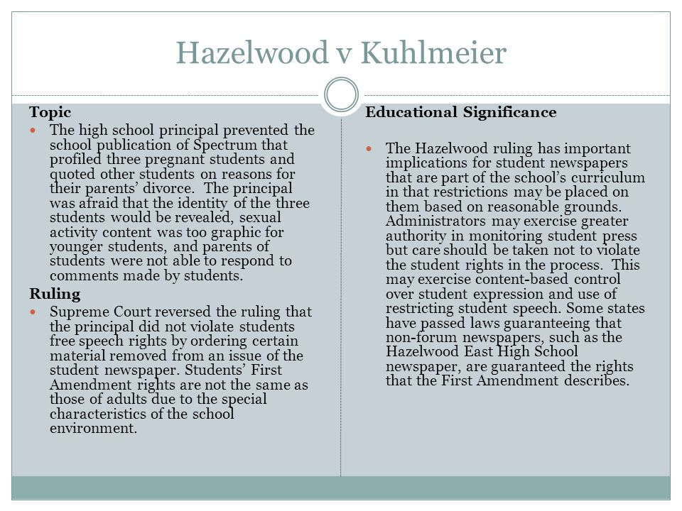 an overview of the case of hazelwood school district v kuhlmeier Morse v frederick: why content-based exceptions, deference, and confusion are swallowing tinker piotr banasiak i introduction the united states supreme court's school speech' jurispru.