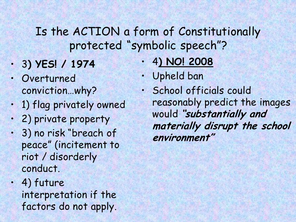Is the ACTION a form of Constitutionally protected symbolic speech