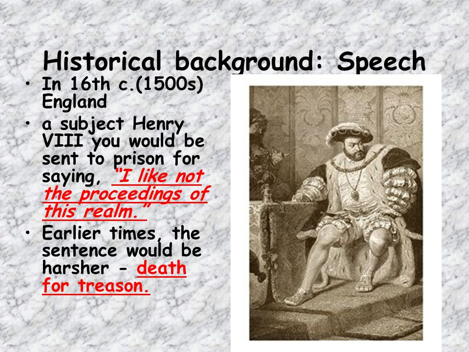 Historical background: Speech