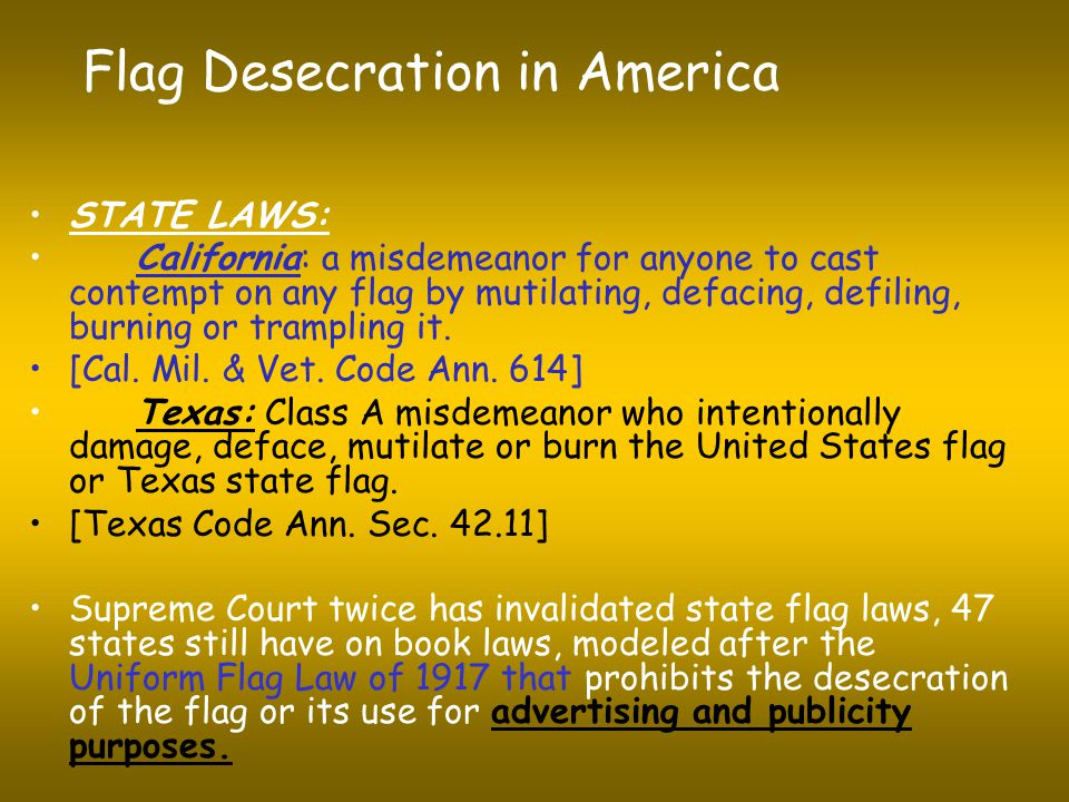 Flag Desecration in America