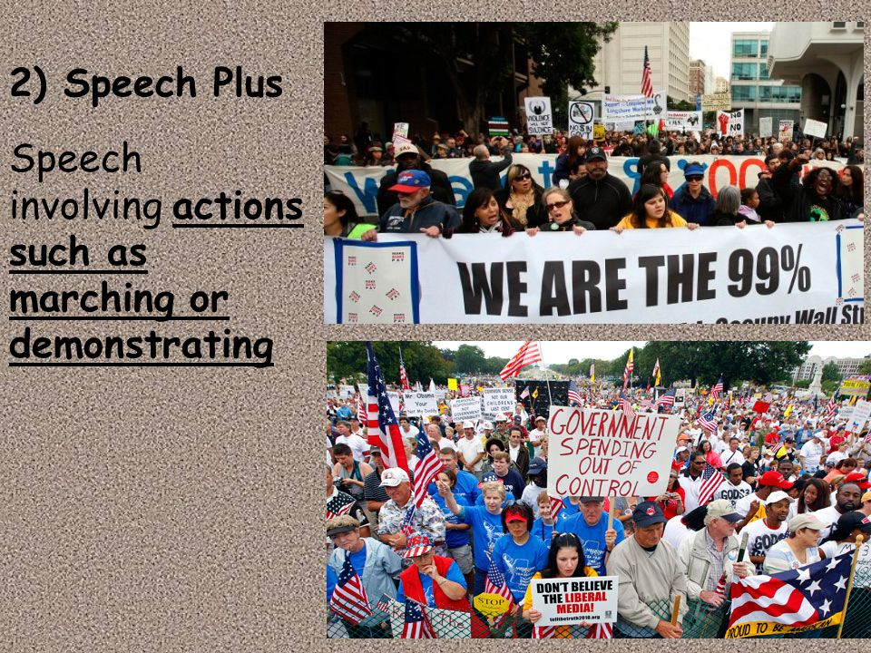 2) Speech Plus Speech involving actions such as marching or demonstrating