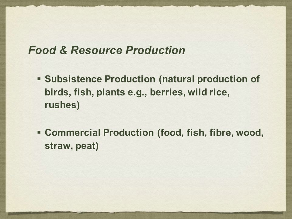 Food & Resource Production