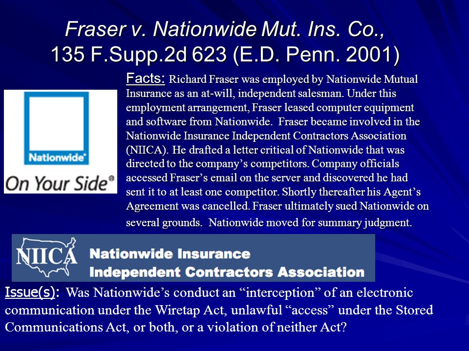 Fraser v. Nationwide Mut. Ins. Co. , 135 F. Supp. 2d 623 (E. D. Penn