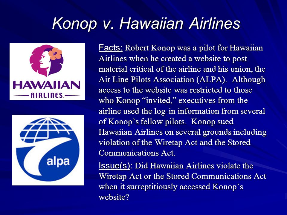 Konop v. Hawaiian Airlines